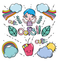 cute girl and cartoons card vector image