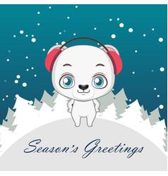 cute polar bear christmas greeting vector image