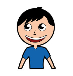 Cute upper body man cartoon vector