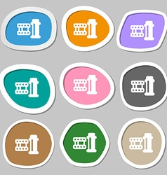 Film Icon symbols Multicolored paper stickers vector