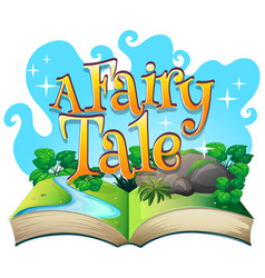Font design for word a fairy tale with scene from vector