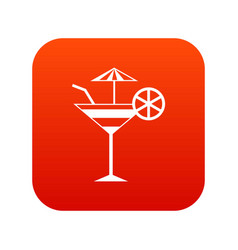 fruit cocktail icon digital red vector image