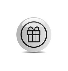 Gift icon in a button on a white background vector