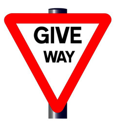 Give way traffic sign vector
