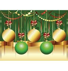 Gold and Green Xmas Balls3 vector image