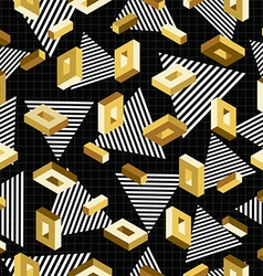gold seamless pattern retro 80s 3d background vector image