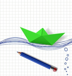 Green paper boat on the water surface which is vector image