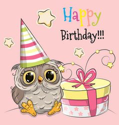 greeting card cute owl with gift vector image