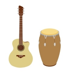 Guitar and conga drum vector