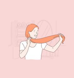 Hair care hairdo beauty saloon procedure vector