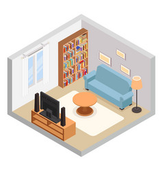 hall isometric tv couch sofa bookshelf modern vector image