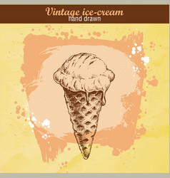 Hand drawn sketch ice cream cone vector