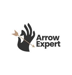 hand hold holding arrow bow logo icon vector image