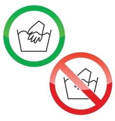 Hand wash permission signs set vector