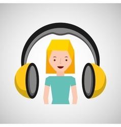 Headphones music character girl blonde vector