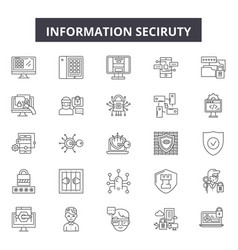 information security line icons signs set vector image