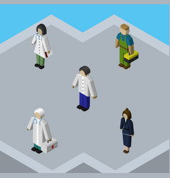 isometric human set of plumber businesswoman vector image