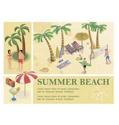 isometric summer vacation composition vector image