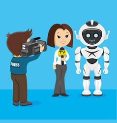 Journalist interviews the robot vector
