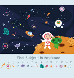 Kids picture puzzle with outer space and astronaut vector
