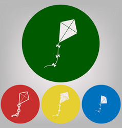 Kite sign 4 white styles of icon at 4 vector