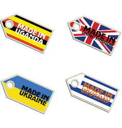 Label Made in Uganda United Kingdom Ukraine Urugua vector
