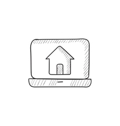 Laptop with home on the screen sketch icon vector image