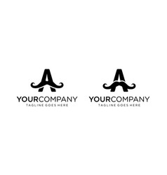 Letter a with mustache for logo design vector