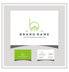 Letter b tree trunk logo design with business card vector