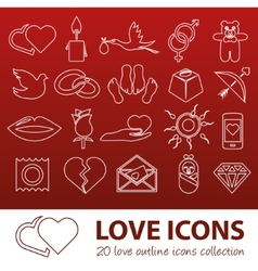 Love outline icons vector