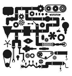 Machine parts mechanism silhouette vector