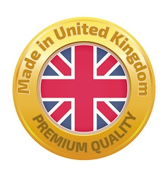 Made in UK badge with United Kingdom flag symbol vector image