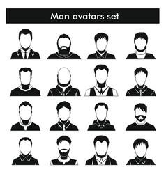 Man avatars set in black simple style vector