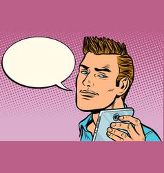 Man selfie smartphone says vector