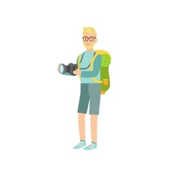 Man With The Camera And Backpack vector image
