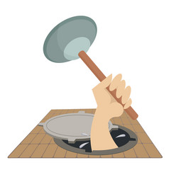 mechanic working in the sewer manhole vector image