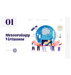 meteorology landing page template tiny characters vector image
