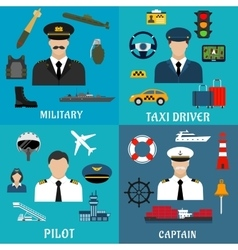 Military captain pilot and taxi driver icons vector image