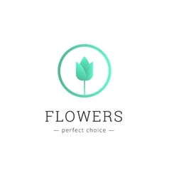 minimalistic flower shop logo Tulip brand vector image vector image