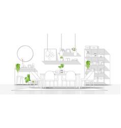 Modern dining room in black line sketch vector