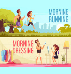 morning banners set vector image