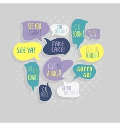 Most common used typical good-bye phrases vector