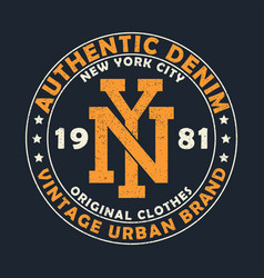 New york vintage denim graphic for t-shirt vector