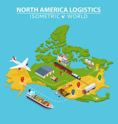 North america transportation and logistics vector