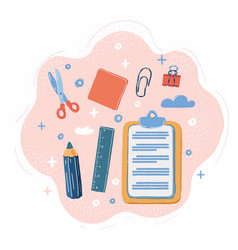 Office supplies on pink vector
