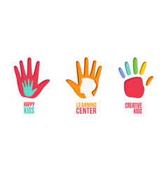 Paper cut out logo set with children hands vector