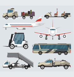 passenger airport ground technics isolated set vector image