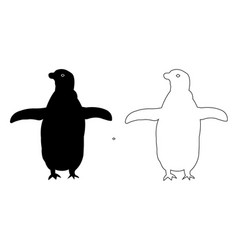 penguine silhouette outline icon eps set vector image