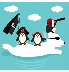 Penguins pirates swim on polar bear vector