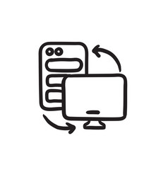 Personal computer set sketch icon vector